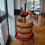 Interesting display at the front door; a wine press!
