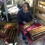 woman selling authentic honey