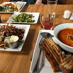 Truffle fries, shredded Brussels sprouts, grilled cheese and spicy tomato soup... delicious!