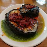 Grilled aubergine - rose harissa is incredible