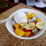 fruit salad with coconut milk/ice cream