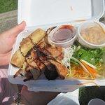 BBQ pork, spring roll & rice noodle