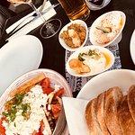 Great three dip and Greek salad