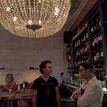 Two of my favorite bartenders, John and Matt, as well as the glorious chandelier above the bar.