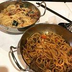 Singapore Noodle top left, Sweet Noodle bottom right.