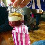 Cheesecake served in a mason jar in a bag