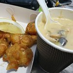 Chowder, oysters with fresh lemon