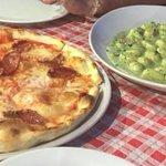 Diavola pizza and gnocchi with pesto. Delicious!