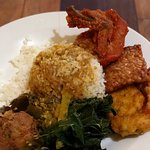 my lunch at sanak: rice, chillies, green vegetables, tempe, tofu, corn fritter, chicken, potato
