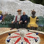 Three mosaic figures
