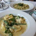 Ravioli with feta and peppadew filling, creamy sauce with broccoli.