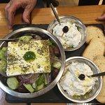 Greek salad with additional tzatziki