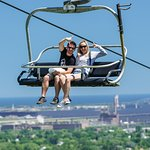 Spirit Mountain Scenic chairlift with Lake Superior in Background