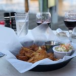 Fried Scallops with French fries and Cole slaw and a glass of Merlot.