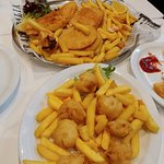 fish, chips and scallops