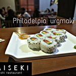 Philadelpia uramaki fresh and delicious sushi with selected products