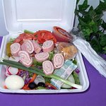 Delicious chef salad, packed with veggies and meats