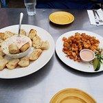 Appetizers. Left - shrimp dip with crostini; Right - popcorn shrimp
