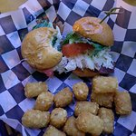Crab blt sliders with tots