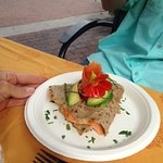 Smoked Salmon, herb cheese & capers Crepe