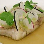 Pan Fried Stone Bass, Langoustine Consommé, Radish, Citrus Gel