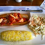 Warm Butter Poached Lobster Roll with Coleslaw and Corn on the Cob
