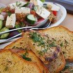 Garlic Bread and Rhodos Salad
