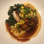 Striped bass with spinach and miso corn puree