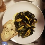 Excellent mussels in garlic sauce and fresh house made bread