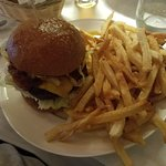 Awesome burger with fries
