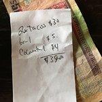 The bill (Belize dollars!)