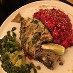 Grilled fish with beet root risoto