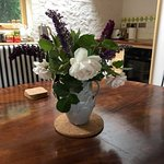 Flowers in the dining area.