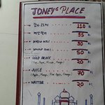 Menu of joney's place