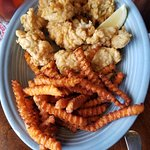 Fried oyster platter with sweet potato fries