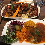 Hot meze and mousaka, delicious and plentiful