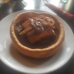 Steak ale & mushroom pie asked to put in a Yorkshire pudding with veg and onion gravy top draw