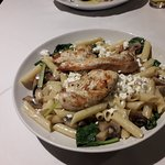 Spinach and mushroom penne with added Chicken breast