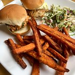 Salmon and Rockfish Sliders with Sweet Potato Fries and Coleslaw