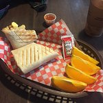 Breakfast burrito/panini at Chartreuse Moose cafe. SOOOO tasty after 6 days on the Bowron Lakes!