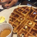 Chartreuse Moose waffle with real maple syrup!