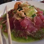 Seared Sushi. Yellowfin Tuna Kimchee Seaweed Salad. Chop Sticks no Additional Charge!