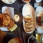 Karage chicken, rice, gyoza, soup and kimchi