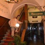 Restaurant downstairs; Hotel upstairs