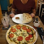 Calzone and eggplant pizza
