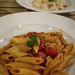 Vegetarian tortellini (ricotta + nuts sauce I think) and Penne alla arrabiata