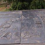 Jedna z wypukłych tablic, pokazująca rozłożenie domów i opis, co to za osada