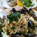 Seafood tagliatelle and pan-fried John Dory