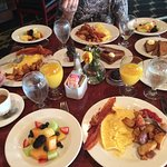 Breakfast for 3 fills the entire table
