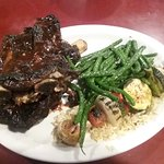 Buffalo ribs w/garlic green beans and mized veggies